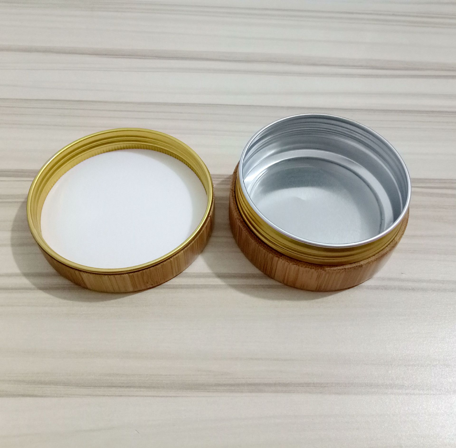Cosmetic Bamboo Cream jar with Aluminium Inner