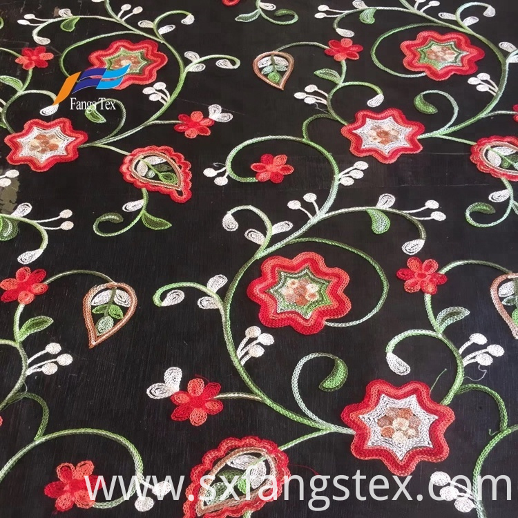 African Tokay Flower Embroidery Women Dress Black Fabric 4