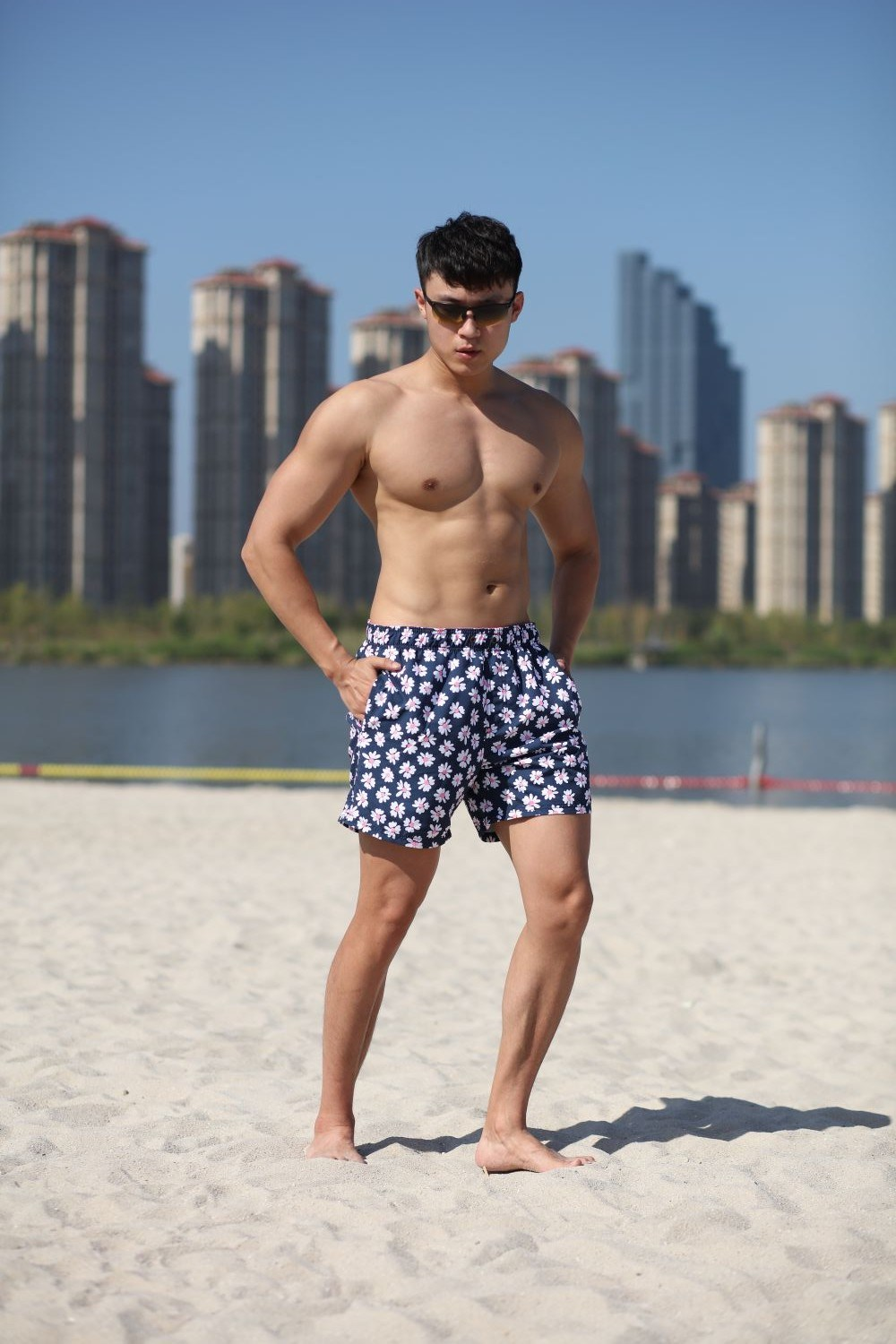 Recycled Yarn Polyester Digital Print Brief Mesh Lining Quick Dry Water Repellent Man's Swim Short