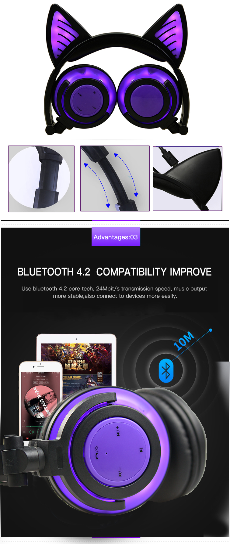 Bluetooth 4.2 cat ear headphone