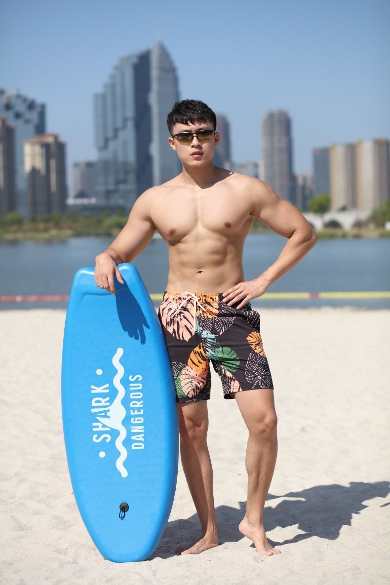 140GSM 4way Stretch Digital Print Quick Dry Full Elastic Waist Brief Lining Man's Swimshort