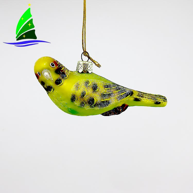 Hand Painted Glass bird ornamnent