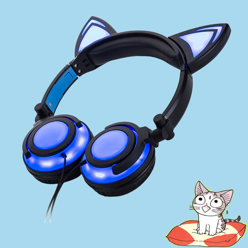 Blue color cat ear headphone