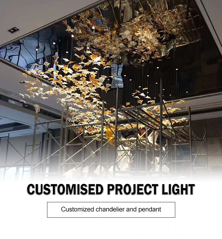 Professional american project customized banquet lobby various glass chandelier pendant light