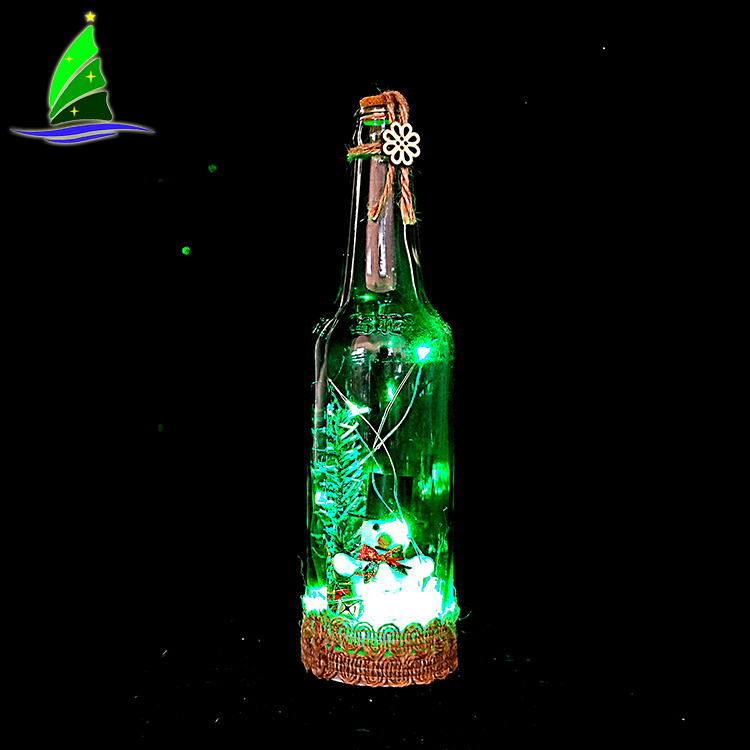 Christmas Glass Wine Bottle decoration